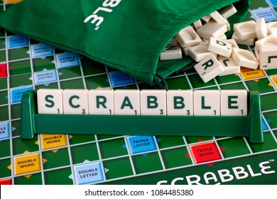 Tambov, Russian Federation - May 02, 2018 Scrabble Board Game. Word Scrabble from letter tiles in tile rack on  gameboard with drawstring letter bag. Studio shot.