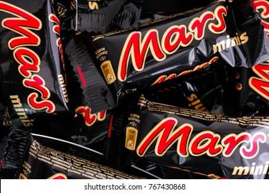 Tambov, Russian Federation - November 15, 2017 Mars minis candy bars. Full Frame. Studio shot.