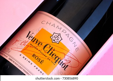 Tambov, Russian Federation - October 06, 2017 Close-up of Bottle of Champagne Veuve Clicquot Rose in pink box. Studio shot.