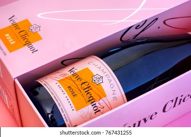 Tambov, Russian Federation - October 06, 2017 Close-up of Champagne Veuve Clicquot Rose Bottle in pink box. Pink background. Studio shot.