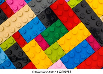 Tambov, Russian Federation - September 22, 2016 Background of some different colors Lego bricks. Studio shot.