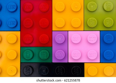 Tambov, Russian Federation - September 22, 2016 Background of different colors Lego bricks. Studio shot.