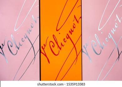 Tambov, Russian Federation - September 29, 2019 Three boxes of Champagne Veuve Clicquot Brut and Rose in a row. Close-up. Studio shot.