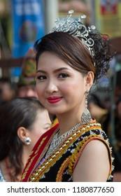 Tambunan, Sabah, Malaysia - May 1 2015: Sylvia George, Ratu Unduk Ngadau Kaamatan, Daerah Tambunan (english: District level Kaamatan Queen of Tambunan 2014) at the opening ceremony of Kaamatan 2015.