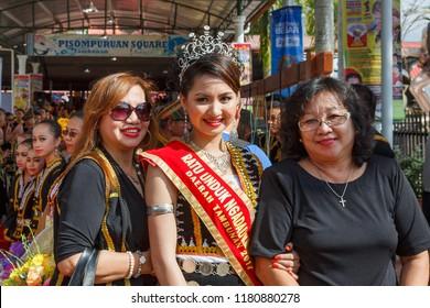 Tambunan, Sabah, Malaysia - May 1 2015: Sylvia George,  District level Kaamatan Queen of Tambunan 2014, at the opening of the Kaamatan Festival 2015