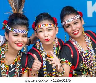Tambunan, Sabah, Malaysia - May 1 2015: Young Murut ladies in traditional costumes during the opening ceremony of Pesta Kaamatan