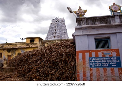 Tamil Nadu India August 25 2009 Firewood godown at rangnath swamy temple at srirangam