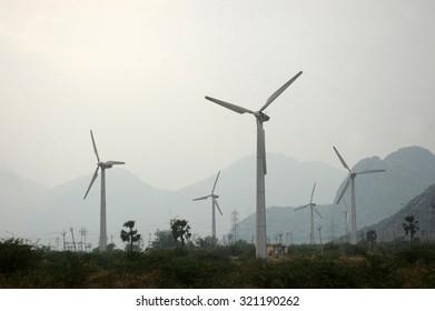TAMIL NADU, INDIA, circa 2009: Wind turbines for generating electricity, Tamil Nadu, India