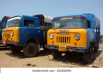 TAMIL NADU, INDIA - CIRCA 2012: Vintage Indian light trucks