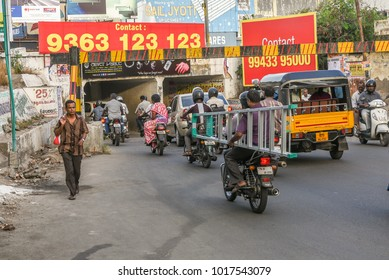 TAMIL NADU, INDIA - FEBRUARY 09, 2016: Traffic jam at an underpass or tunnel at a railway line. Congested roads in Coimbatore.