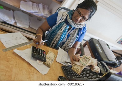 TAMIL NADU, INDIA - February 2016: Bank desk
