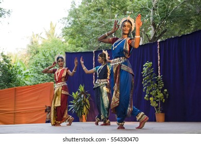 TAMIL NADU, INDIA - January 2017: Odissi dance in a children cultural program of a school