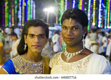 TAMIL NADU, INDIA - May 2017: Aravan festival dedicated to transgender people in Pillaiyarkuppam village.