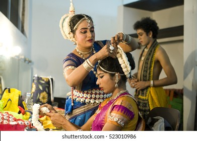 TAMIL NADU, INDIA - November 2016: Odissi dancers preparing for the show