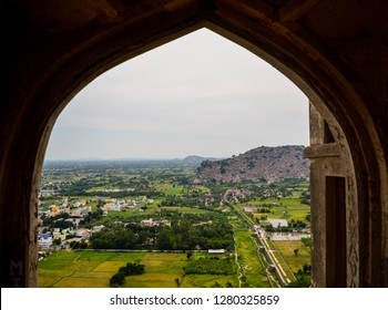 Tamil Nadu, India - October 1, 2017: Pristine view of the base village from the gallery of Gingee/ Senji Fort in Tamil Nadu, India.