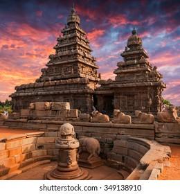 Tamil Nadu landmark - Shore temple  in Mahabalipuram, Tamil Nadu, India