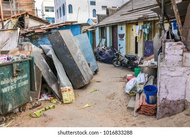 TAMILNADU, INDIA - FEBRUARY 09, 2016:  Garbage and broken houses in slum area in Coimbatore.