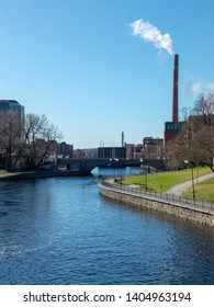 Tammerkoski river at Tampere city in spring