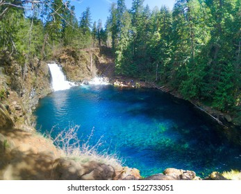 Tamolitch Falls or Blue Pool is stunning blue water on the McKenzie River in the Willamette National Forest in Oregon.