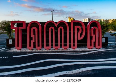 Tampa Bay, Florida. April 28, 2019. Red Tampa Sign on downtown area.