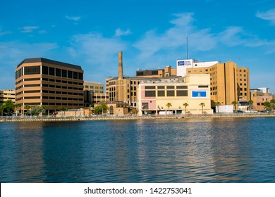 Tampa Bay, Florida. April 28, 2019 . Partial view of Tampa General Hospital and Hillsborough river.