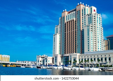Tampa Bay, Florida. April 28, 2019 . Panoramic view of Tampa Marriott Water Street on lightblue sky background in downtown area (4)