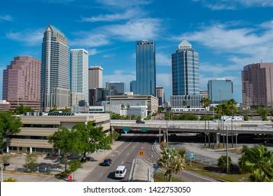 Tampa Bay, Florida. April 28, 2019 . Panoramic view of Tampa Downtown and I4 Highway.