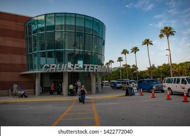 Tampa Bay, Florida. April 28, 2019 . Cruise Terminal 3 at Port Tampa Bay (1)