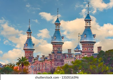 Tampa Bay, Florida. January 19, 2019 .Top view of  Henry B. Plant Museum. It is a Neo Arabian style building in Tampa Downtown.