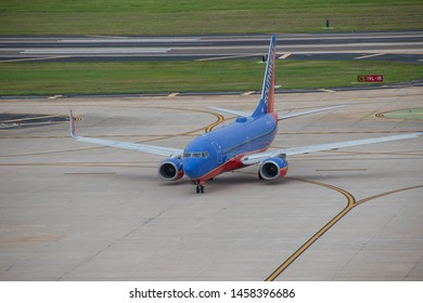 Tampa Bay, Florida. July 12, 2019 . Southwest aircraft on runway preparing for departure from the Tampa International Airport 6.