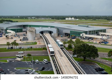 Tampa Bay, Florida. July 12, 2019 Top view of Sky Connect Train at Tampa International Airport 4