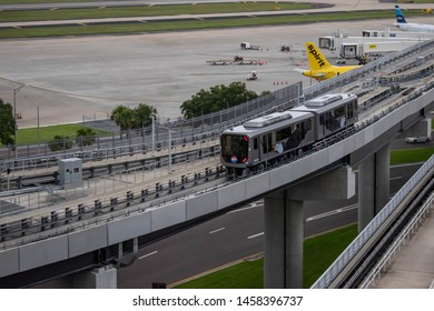 Tampa Bay, Florida. July 12, 2019 Top view of Sky Connect Train at Tampa International Airport 2