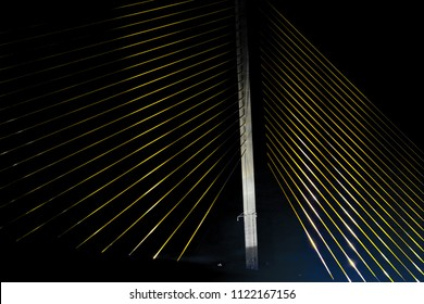 Tampa Bay, Florida, USA - December 2015: Cables support the suspended section of the Sunshine Skyway Bridge.