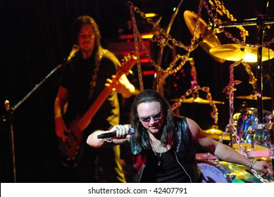 TAMPA, FL - FEBRUARY 12: Eddie Jackson and Geoff Tate of Queensryche performing live at the Tampa Theater on February 12, 2008 in Tampa, Florida.
