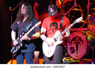 TAMPA, FL - FEBRUARY 12: Michael Wilton and Mike Stone of Queensryche performing live at the Tampa Theater on February 12, 2008 in Tampa, Florida.