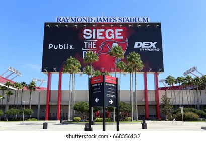 TAMPA, FL - MAY 15: The Tampa Bay Buccaneers team headquarters in Tampa, Florida on May 15th, 2017. The Tampa Bay Buccaneers are one of the 32 teams of the NFL.
