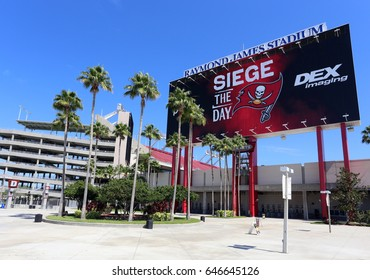 TAMPA, FL - MAY 15: Raymond James Stadium in Tampa, Florida on May 15th, 2017. Raymond James Stadium is the home stadium of the Tampa Bay Buccaneers of the NFL and the site of the 2021 Super Bowl.