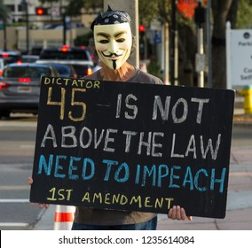 Tampa, FL - Nov 8 2018: An anarchist protests at Curtis Hixon park.