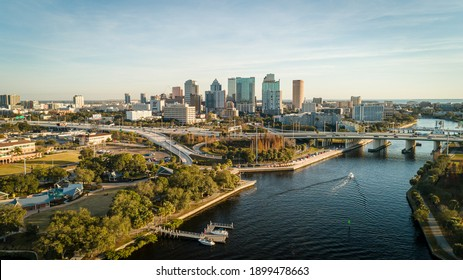 """""""Tampa, FL USA - 1-20-2021: Grandious aerial view over the Hillsborough river leading to downtown Tampa."""""""