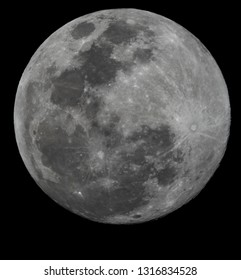 Tampa, FL, USA - 2/19/2019: Supermoon.  Telescope photo of the moon during the 2019 supermoon event.  Zoom, large image, high resolution.