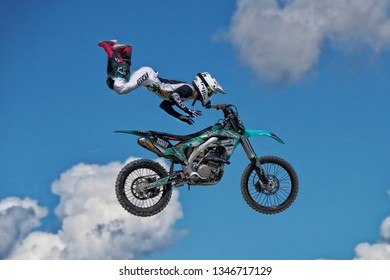 TAMPA FL. USA - February 11, 2019: Motorcylce daredevil performing aerial stunts at the Florida State Fair in Tampa Florida.