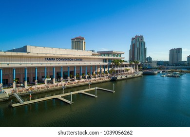 TAMPA, FL, USA - FEBRUARY 7, 2018: Drone image of the Tampa Convention Center Florida USA
