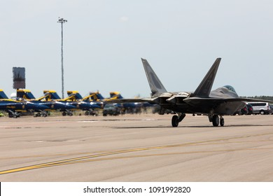 TAMPA, FL, USA - MAY 11-13TH, 2018: Tampa Bay Air Fest 2018 at the MacDill Air Force Base. F-22 Raptor demonstration.