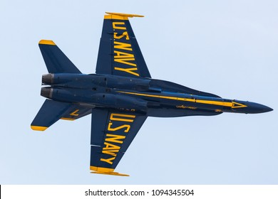 TAMPA, FL, USA - MAY 11-13TH, 2018: Tampa Bay Air Fest 2018 at the MacDill Air Force Base. US Navy demonstration squadron Blue Angels .