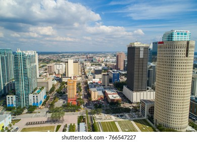 TAMPA, FL, USA - NOVEMBER 11, 2017: Aerial drone image of Downtown Tampa Florida urban cityscape