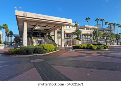 TAMPA, FLORIDA - AUGUST 1 2016: The main entrance to the Tampa Convention Center. This mid-sized facility at the mouth of the Hillsborough River opened in 1990 and hosts over 300 events per year.