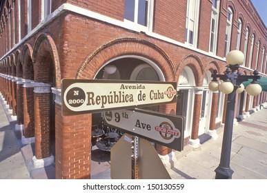 TAMPA, FLORIDA - CIRCA 1990'S: Ybor Historic District, Florida's Latin Quarter, Tampa, Florida