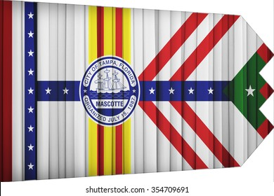 Tampa ,Florida flag pattern on the fabric curtain,vintage style
