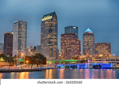 TAMPA, FLORIDA - JANUARY 15, 2015 : The skyline of downtown Tampa at sunset. Hdr processed.