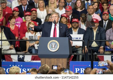 Tampa, Florida – July 31, 2018:  President Donald Trump addresses his supporters at a rally in Tampa, Florida, on July 31, 2018.